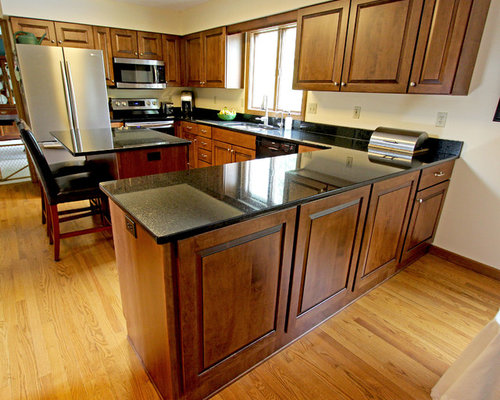 Maple Kitchen Cabinets With Black Pearl Granite Countertops ~ Copley, OH