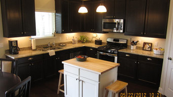 Maple painted white island with custom butcher block top