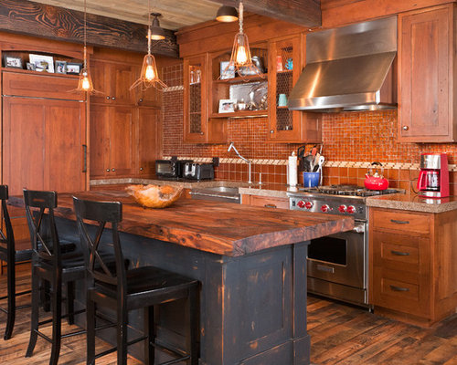 rustic kitchen island | houzz