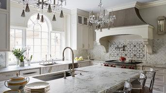 Marble counters and marble backsplash, paneled window, pewter custom hood