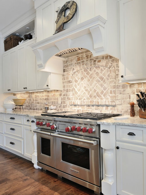 Whitewashed brick backsplash home design ideas pictures for M kitchen world chop wash