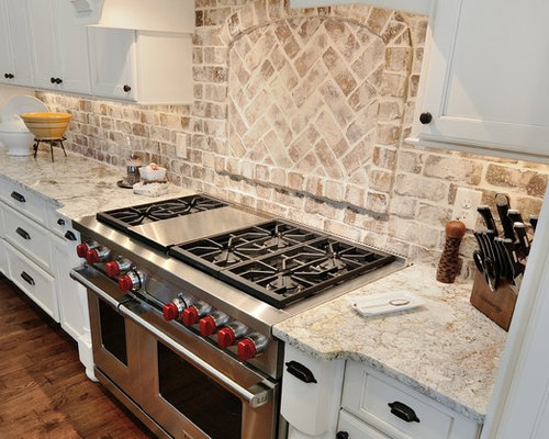 Whitewashed Brick Backsplash Houzz