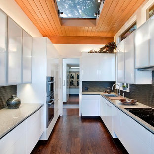 Asian enclosed kitchen photos - Inspiration for a zen galley enclosed kitchen remodel in San Francisco with concrete countertops