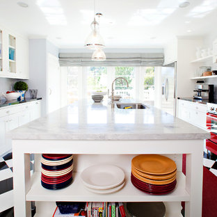 Transitional enclosed kitchen ideas - Inspiration for a transitional enclosed kitchen remodel in San Francisco with open cabinets, a single-bowl sink, white cabinets, white backsplash, subway tile backsplash and colored appliances
