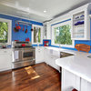 Red, White and Blue Energize a Remodeled River-View Kitchen