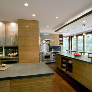 Genial Example Of A Minimalist Kitchen Design In New York With Stainless Steel  Appliances