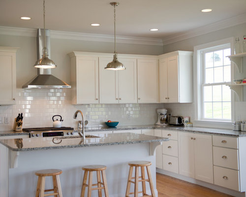 White Kitchen Subway Tile white subway tile with granite | houzz
