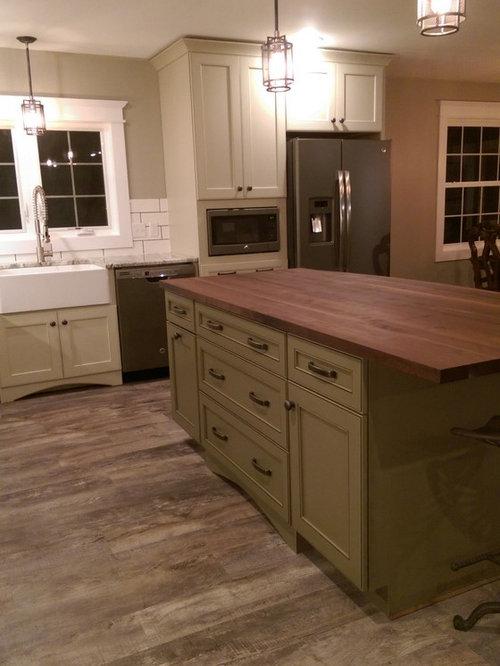 Marlette Transitional Painted Mushroom Cabinets And Sage Island