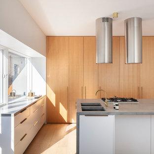 シドニーのモダンスタイルのおしゃれなキッチン (アンダーカウンターシンク、フラットパネル扉のキャビネット、白いキャビネット、ガラスまたは窓のキッチンパネル、パネルと同色の調理設備、淡色無垢フローリング、ベージュの床、グレーのキッチンカウンター) の写真