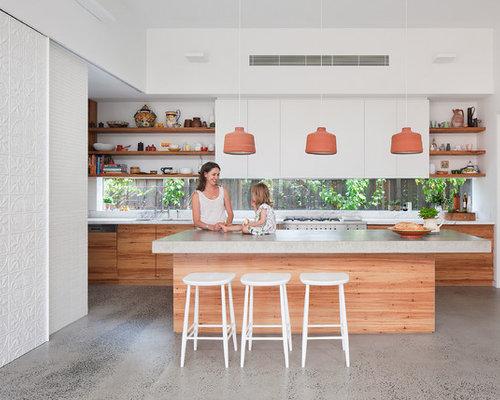 mid sized contemporary kitchen designs inspiration for a mid sized contemporary galley concrete - Glass Sheet Kitchen Design