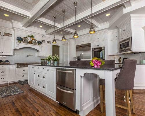 kitchen   traditional kitchen idea in seattle with stainless steel appliances and subway tile backsplash 9 ft island ideas  u0026 photos   houzz  rh   houzz com