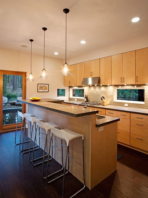 Raised bar houzz Breakfast bar lighting ideas