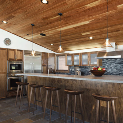 Inspiration for a rustic kitchen remodel in San Francisco with stainless steel appliances