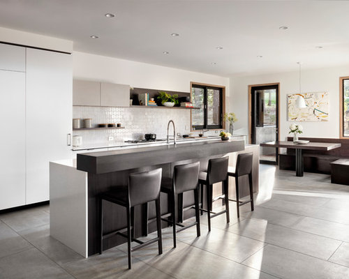 Inspiration For A Contemporary Galley Open Concept Kitchen Remodel In Other  With Flat Panel Cabinets