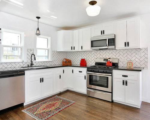 Eclectic Kitchen Photo In Los Angeles With An Undermount Sink, Shaker  Cabinets, White Cabinets