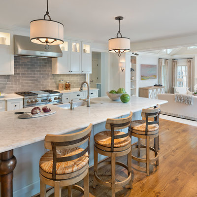 Inspiration for a timeless dark wood floor and brown floor kitchen remodel in DC Metro with a farmhouse sink, recessed-panel cabinets, white cabinets, gray backsplash, subway tile backsplash, stainless steel appliances and an island