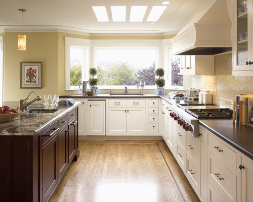 Kitchen   Traditional Kitchen Idea In San Francisco With Quartz  Countertops, White Cabinets, Yellow