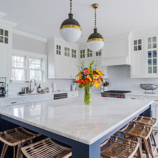 Large transitional kitchen inspiration - Kitchen - large transitional kitchen idea in Boston