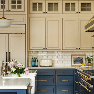 75 Beautiful Beige Kitchen With Blue Cabinets Pictures Ideas April 2021 Houzz