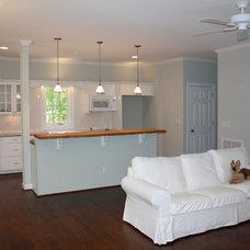 Traditional Kitchen Mayo Lake Cottage Living Room Beadboard Kitchen Ikea white sofa slipcovered