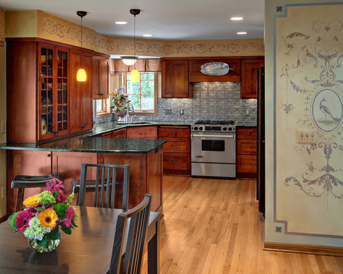 Traditional U Shaped Kitchen Idea In Minneapolis With Granite Countertops,  Metallic Backsplash, Metal