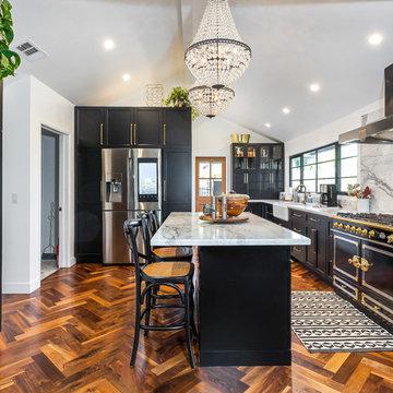 McAdams - Encino - Black & Brass Kitchen Remodeling