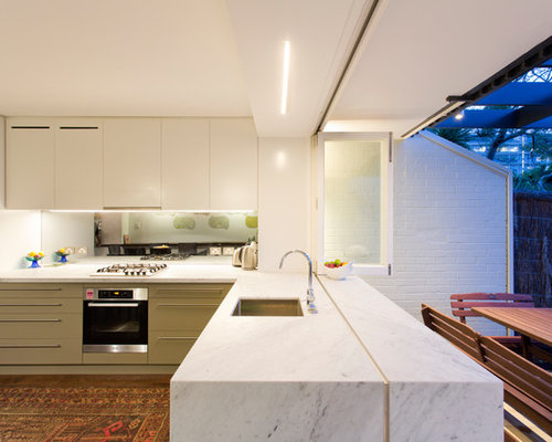 This Is An Example Of A Contemporary Kitchen/diner In Sydney With A  Submerged Sink Part 51