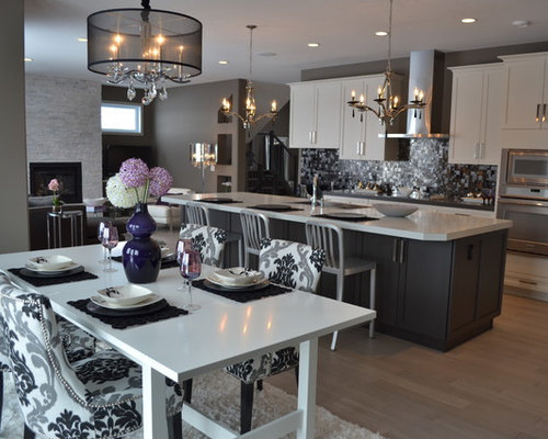 Ikea Kitchen Design Ideas, Remodels & Photos with Mosaic Tile Backsplash and Recessed-Panel Cabinets