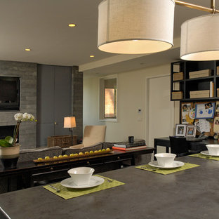 Design ideas for a mid-sized contemporary galley eat-in kitchen in DC Metro with an integrated sink, flat-panel cabinets, light wood cabinets, granite benchtops, metallic splashback, metal splashback, stainless steel appliances, with island and dark hardwood floors.