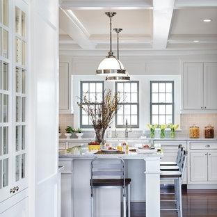 ミネアポリスの広いトランジショナルスタイルのおしゃれなキッチン (インセット扉のキャビネット、白いキャビネット、グレーのキッチンパネル、サブウェイタイルのキッチンパネル、濃色無垢フローリング、エプロンフロントシンク、大理石カウンター、シルバーの調理設備) の写真