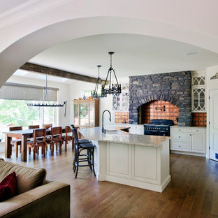 Design ideas for an expansive midcentury eat-in kitchen in Ottawa with shaker cabinets, beige cabinets, quartzite benchtops, stainless steel appliances, vinyl floors and with island.