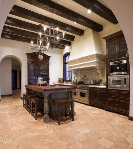 Mediterranean Tiles Kitchen: Hexagon Saltillo Tile Home Design Ideas, Pictures, Remodel