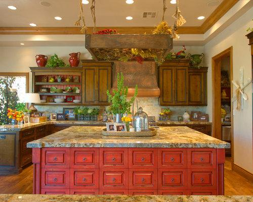 Küchen mit roten Schränken und Granit-Arbeitsplatte Ideen ...