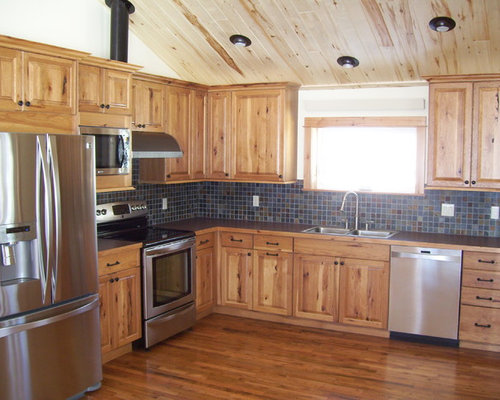 Rustic hickory cabinets houzz for Kitchen cabinets rustic
