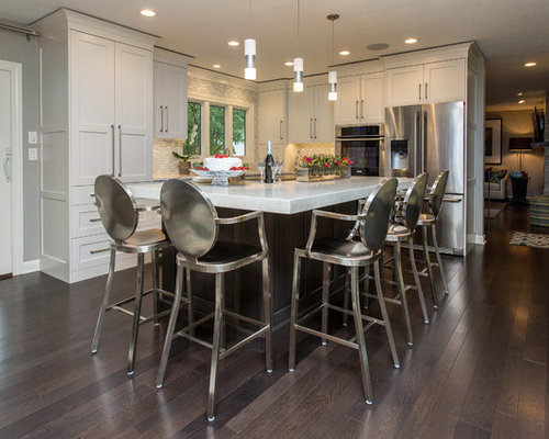 Mid Sized Transitional Open Concept Kitchen Appliance   Inspiration For A  Mid Sized Transitional