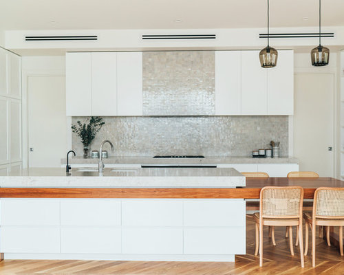 Inspiration For A Large Contemporary Galley Kitchen In Melbourne With An  Undermount Sink, White Cabinets