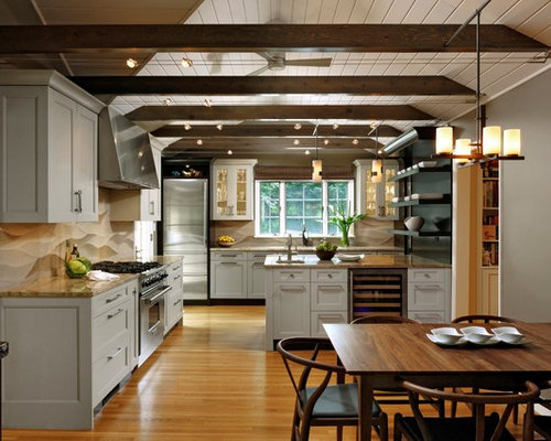Example Of A Large Transitional L Shaped Medium Tone Wood Floor Open  Concept Kitchen Design. Save Photo. Jennifer Gilmer Kitchen U0026 Bath