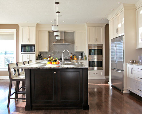 Dark island white cabinets ideas pictures remodel and decor - White kitchen with dark island ...