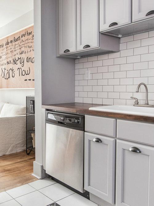 k chen mit k chenr ckwand aus metrofliesen und arbeitsplatte aus fliesen ideen bilder houzz. Black Bedroom Furniture Sets. Home Design Ideas