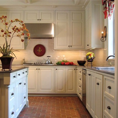 Kitchen Brick Floor White Cabinets Dream Home Pinterest