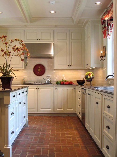 Superior Example Of A Classic Brick Floor Kitchen Design In Houston