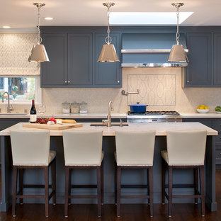 Trendy kitchen photo in San Francisco with shaker cabinets and gray cabinets