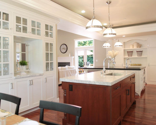 Inspiration For A Timeless Open Concept Kitchen Remodel In San Francisco With Glass Front Cabinets