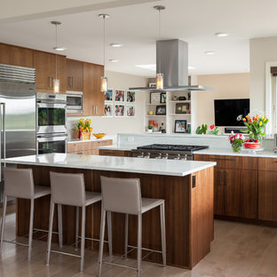 Contemporary Kitchen Appliance   Example Of A Trendy Medium Tone Wood Floor  And Brown Floor Kitchen