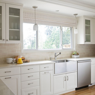 Silestone Tigris Sand Inspiration For A Timeless Kitchen Remodel In Seattle With Subway Tile Backsplash Farmhouse Sink