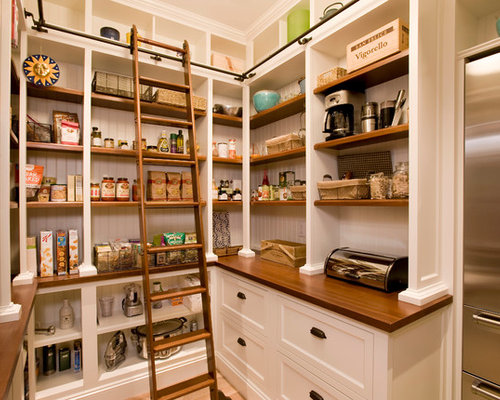 Beach Style Kitchen Pantry Designs   Example Of A Coastal Kitchen Pantry  Design In Boston With