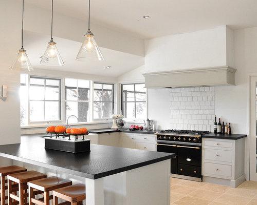 Farmhouse beige floor kitchen idea in Melbourne with black appliances and gray cabinets & Alexa Hampton Pendant Light | Houzz azcodes.com