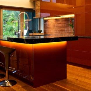 シドニーの広いモダンスタイルのおしゃれなキッチン (マルチカラーのキッチンパネル、ガラス板のキッチンパネル、黒い調理設備、アンダーカウンターシンク、フラットパネル扉のキャビネット、赤いキャビネット、御影石カウンター、淡色無垢フローリング) の写真