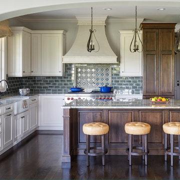 Mettawa Illinois French Country Kitchen with Art Tile Backsplash