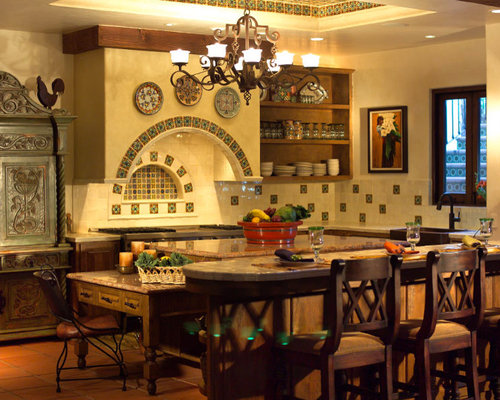 Solid Wood Mexican Style Kitchen Cabinets